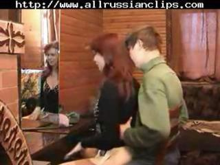 older  russian babe drives his penis and takes
