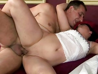 slutty grandpa drilling with young lady