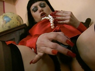 satiny nylons dressing on lady worships sperm