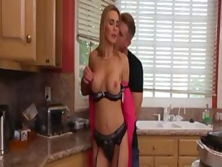 hot, naughty blonde mom tina eats cock and takes