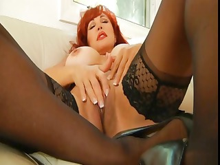 desperate cougar redheaded woman strokes and hand