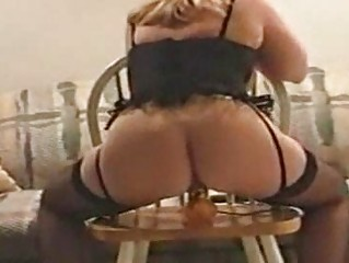 ladies manon bangs huge vibrator on chair
