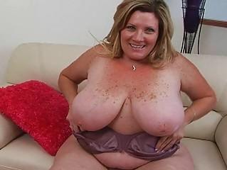heavy blond pale momma sticks large fuck device
