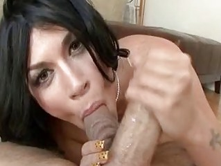 high heel blowjob pov - balls tasting albino brunette