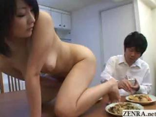 nudist woman japanese housewife prostrates on