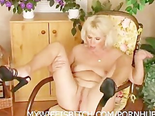 pushing dildo mature