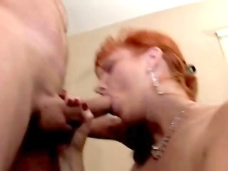 ginger lady likes a penis inside her oral and in