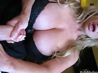 mega boobed housewife giving a hot handjob