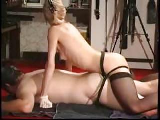 Busty blonde hot strip