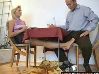 older blond whore rubbing lil cock with her feet
