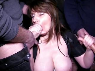slutty brunette mature babe obtains in a bukkake