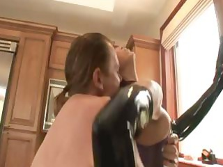 desperate redhead mom inside latex and blond in