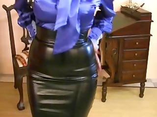 milf dressing on tight satin cloth
