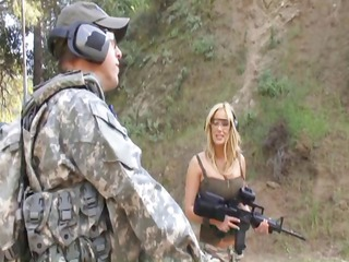 hot mature slut gives these soldier some
