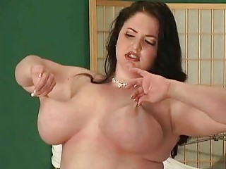 jumbo boobed woman fatty exposes off her huge butt