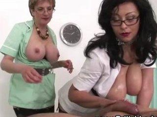 grownup femdom ffm russian handjob cum
