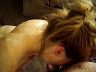 housewife licking and facial