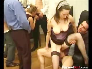 bunch  of dudes on one mature slut
