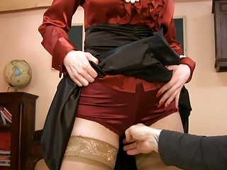 lady into glasses and satin nylons acquires horny