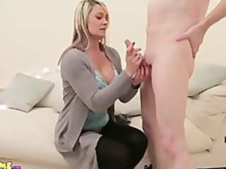 milf wanks and licks nude cfnm man until he cums