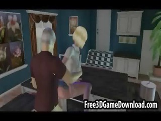 bleached older 3d cartoon chick taking her vagina