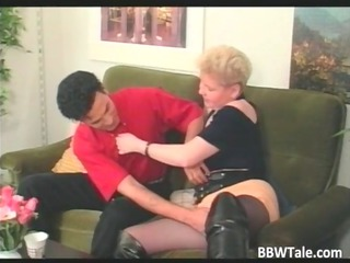 fat blonde milf in stretched leather galoshes