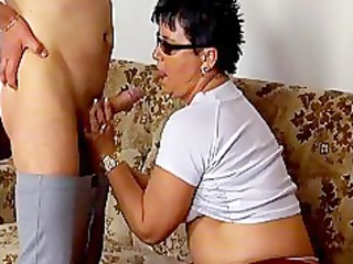 horny mature maiden sucking penis and obtains