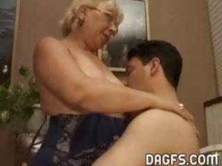 mature granny gets a more juvenile  penis to suck