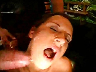 bukkake cum group sex with a milf!