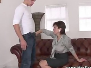 unfaithful couger gives super handjob to young