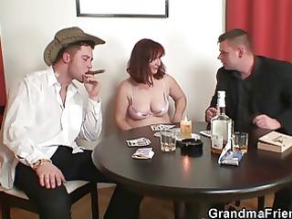 elderly teases go naked poker then dual dicked