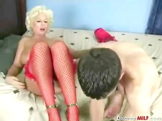 mature pale milf with gardener