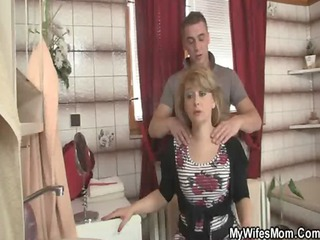 his woman comes out and he bangs her milf