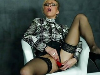 dildoing woman inside blouse and highheels