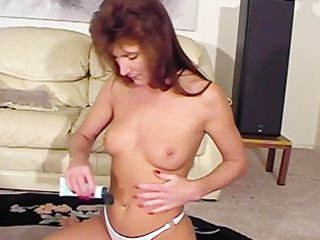 skinny mature angel massages her boobies with