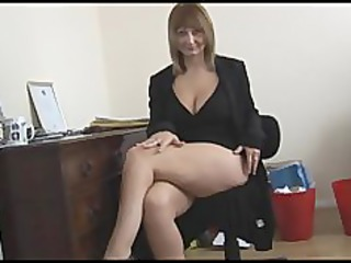 slutty mature blonde associate exposes and spreads