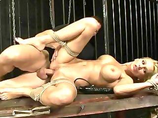slutty woman takes bondaged and fucked