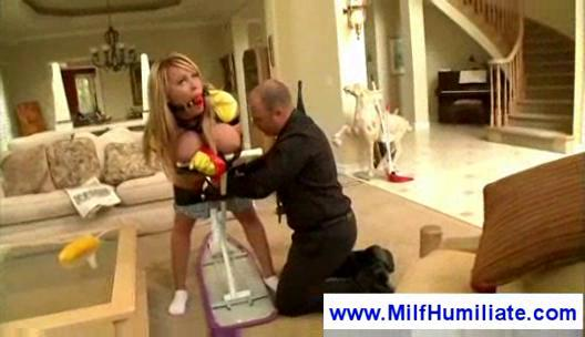 tied up woman takes spanked