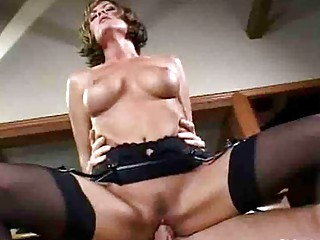 lady tramp with giant bossom inside nylons has