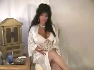 awesome brunette older solo smoking into satin