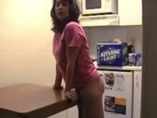 housewife grinds desk and copulates dildo.