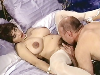 busty brunette cougar with hairy pussy trades