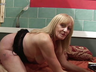 fresh whore grandmother pleasing with her juicy