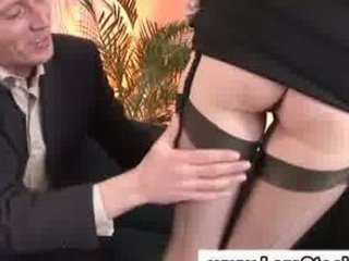 older  angel into nylons exposes off her foot to