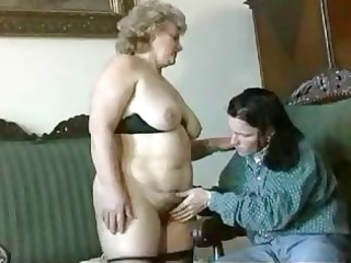 fat, bleached granny obtains licked, blows, and