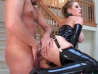 giant tit woman does bottom into latex